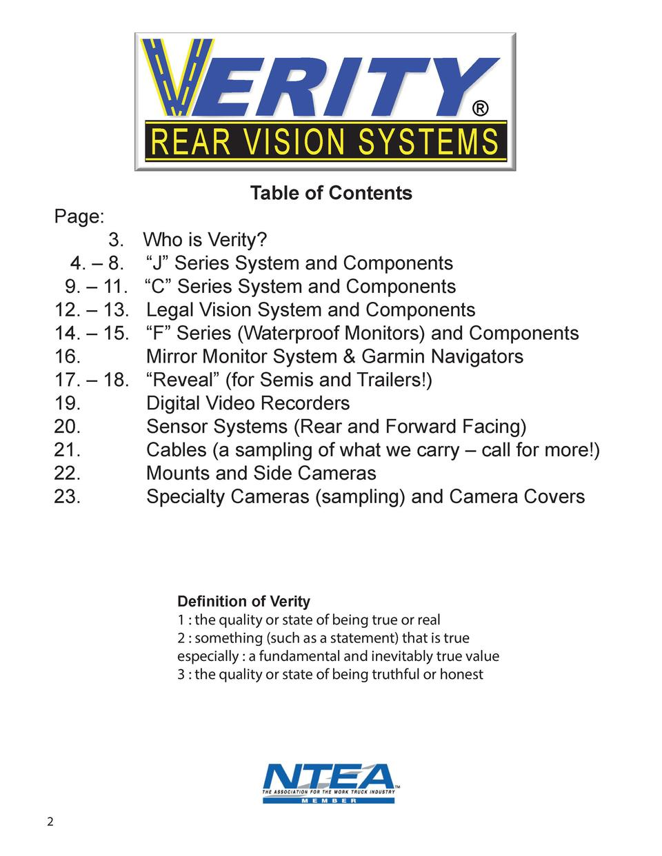 REAR VISION SYSTEMS Page   3. 4.     8. 9.     11. 12.     13. 14.     15. 16. 17.     18. 19. 20. 21. 22. 23.  Table ...